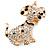 Clear Crystal, Black/ White Enamel Spotty Dog Keyring/ Bag Charm In Gold Tone - 12cm L - view 2