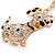 Clear Crystal, Black/ White Enamel Spotty Dog Keyring/ Bag Charm In Gold Tone - 12cm L - view 3