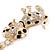 Clear Crystal, Black/ White Enamel Spotty Dog Keyring/ Bag Charm In Gold Tone - 12cm L - view 4