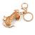 Clear Crystal, Black/ White Enamel Spotty Dog Keyring/ Bag Charm In Gold Tone - 12cm L - view 5