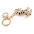 Clear Crystal, Black/ White Enamel Spotty Dog Keyring/ Bag Charm In Gold Tone - 12cm L - view 6