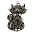 Hematite Crystal Kitty Keyring/ Bag Charm In Silver Tone - 11cm L - view 2