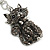 Hematite Crystal Kitty Keyring/ Bag Charm In Silver Tone - 11cm L - view 7