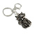 Hematite Crystal Kitty Keyring/ Bag Charm In Silver Tone - 11cm L - view 8