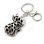 Hematite Crystal Kitty Keyring/ Bag Charm In Silver Tone - 11cm L - view 6