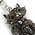 Hematite Crystal Kitty Keyring/ Bag Charm In Silver Tone - 11cm L - view 5