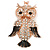 Gold Tone Clear Crystal, Brown Enamel Owl Keyring/ Bag Charm - 11cm Long - view 2