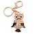 Gold Tone Clear Crystal, Brown Enamel Owl Keyring/ Bag Charm - 11cm Long - view 3