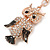 Gold Tone Clear Crystal, Brown Enamel Owl Keyring/ Bag Charm - 11cm Long - view 4