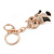 Gold Tone Clear Crystal, Brown Enamel Owl Keyring/ Bag Charm - 11cm Long - view 6