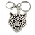 Statement Crystal Tiger Keyring/ Bag Charm In Silver Tone - 11cm L