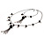 Black Long Double Tassel Fashion Necklace - view 7