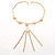 Gold Long Tassel Imitation Pearl Costume Necklace - view 1