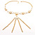 Gold Long Tassel Imitation Pearl Costume Necklace - view 5