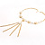 Gold Long Tassel Imitation Pearl Costume Necklace - view 8