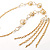 Gold Long Tassel Imitation Pearl Costume Necklace - view 6