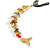 Rainbow Fish Cotton Cord Pendant Necklace (Gold Tone) - view 2