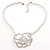 Open Rose Design Imitation Pearl Necklace
