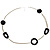 Long Black Oval Resin Bead Costume Necklace In Silver Plated Metal - 108cm L - view 3