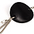 Long Black Oval Resin Bead Costume Necklace In Silver Plated Metal - 108cm L - view 10