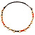 Long Leather Cord Oval Link Perspex Fashion Necklace - view 5