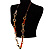 Long Leather Cord Oval Link Perspex Fashion Necklace - view 2