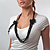 Long Black Glass Bead Floral Organza Necklace - view 7
