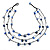 Romantic Blue Nugget Multi Strand Fashion Necklace