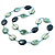 Long Plastic Flat Oval Bead Teal Necklace - 108cm L