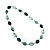 Long Plastic Flat Oval Bead Teal Necklace - 108cm L - view 7