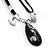 Black Enamel Teardrop Crystal Cord Pendant Necklace - view 4