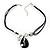 Black Enamel Teardrop Crystal Cord Pendant Necklace - view 2