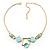 Gold Tone Geometrical Enamel Choker Necklace (Aqua Blue) - view 4