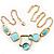 Gold Tone Geometrical Enamel Choker Necklace (Aqua Blue) - view 3