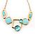 Gold Tone Geometrical Enamel Choker Necklace (Aqua Blue)