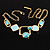 Gold Tone Geometrical Enamel Choker Necklace (Aqua Blue) - view 6
