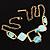 Gold Tone Geometrical Enamel Choker Necklace (Aqua Blue) - view 7