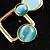 Gold Tone Geometrical Enamel Choker Necklace (Aqua Blue) - view 5