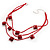 3 Strand Red Beaded Square Neckace - view 5