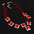 3 Strand Red Beaded Square Neckace - view 3