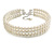 3 Tier Simulated Glass Pearl Collar Necklace In Silver Plating (Light Cream) - 37cm Long/ 6cm Ext - view 4