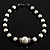 Black & White Imitation Pearl Necklace - 38cm L - view 2