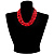 Multi Strand Red Plastic Faceted Bead Necklace - view 3