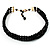 3 Strand Black Glass Bead Choker Necklace (Gold Tone) - view 5