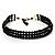 3 Strand Black Glass Bead Choker Necklace (Gold Tone)