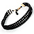 3 Strand Black Glass Bead Choker Necklace (Gold Tone) - view 2