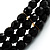 3 Strand Black Glass Bead Choker Necklace (Gold Tone) - view 3