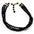 3 Strand Black Glass Bead Choker Necklace (Gold Tone) - view 6