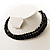 3 Strand Black Glass Bead Choker Necklace (Gold Tone) - view 7