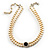 2 Strand Light Cream Imitation Pearl CZ Wedding Choker Necklace (With Jet-Black Central Stone) - view 8